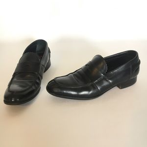 Miu Miu 5.5 penny loafers Black leather mens shoes